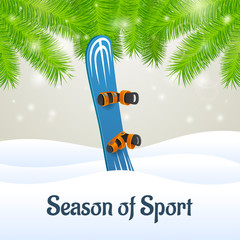 Season of sport blue snowboard