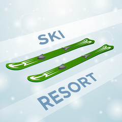 Ski resort skiing in motion