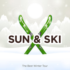 Sun & Ski and sun snow background