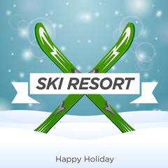 Sunny ski resort and happy holiday