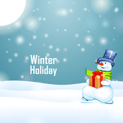 Sunny winter holiday and snowman with gift