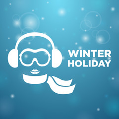 Winter holiday and icon women on blue background