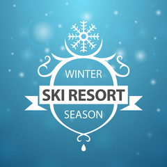 Winter ski resort season on blue background