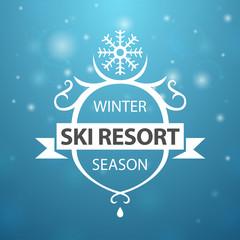 Winter ski resort season on blue background