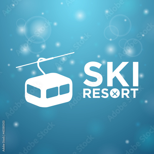 Ski resort ropeway on blue background