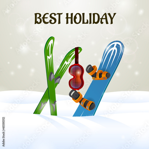 Skiing with Ski Goggles and snowboard on snow background