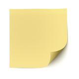 Yellow sticky note with deflected corner isolated on white