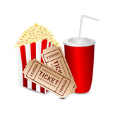 popcorn with a drink and movie tickets isolated on white backgro