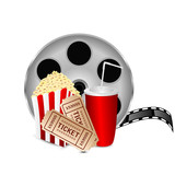 movie icon.items for cinema isolated on white background.reel of