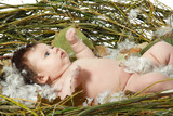cute baby in home nest, beautiful Christmas kid