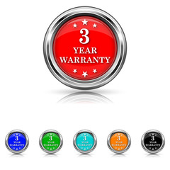 3 year warranty icon - vector set