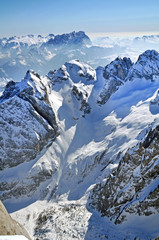 Snowy mountain landscape in the Dolomites, Italy