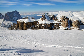 Snowy winter mountains, ski resort in Dolomites