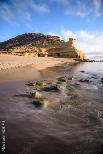 Rock formation in the beach of  Los Cocedores in Almería, Spain