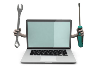 laptop with arms and tools on hand