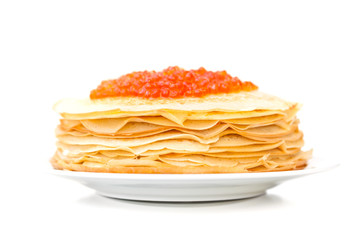 russian pancakes with red caviar on the plate