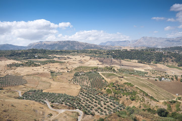 Andalusian countryside from Ronda town, Malaga, Spain