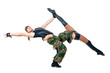 military dancer couple dressed in camouflage costumes