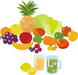 果物と野菜のミックスジュース