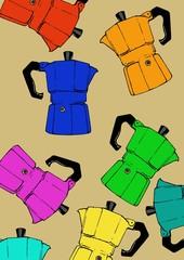 coffeepot colorful pattern