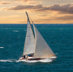 Sea voyage on yacht