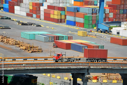 Port cargo container, pipe and truck in port of Odessa, Ukraine