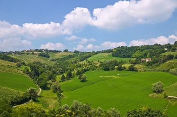 Panoramic view of Torrechiara. Emilia-Romagna. Italy.