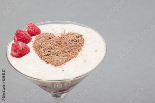 Cocktail of banana, raspberry and chocolate.