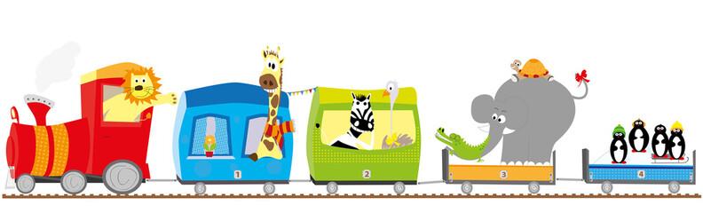 Pociąg i zwierzęta- ilustracja