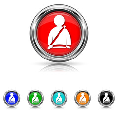 Safety belt icon - vector set