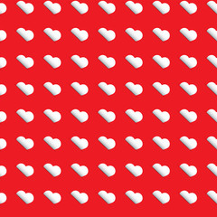 Seamless heart pattern - white hearts on red background