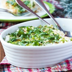 Rice casserole with egg, green spring onions, cilantro, chili