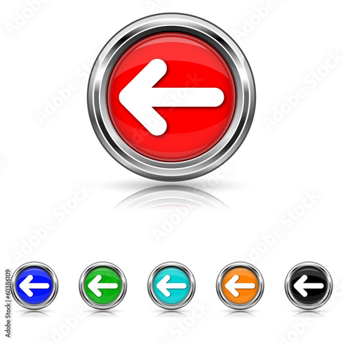 Left arrow icon - vector set
