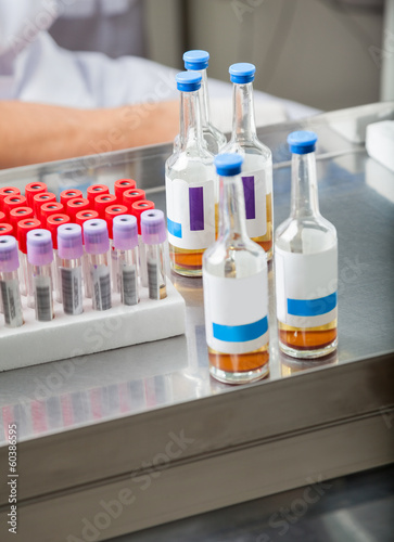 Test Tubes And Sample Bottles In Lab