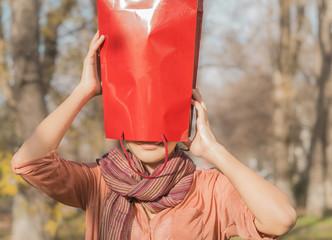 funny girl and gift bag