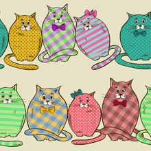 Seamless des chats drôles de graisse