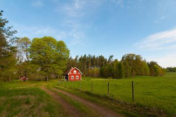 Rotes Holzhaus in Småland, Schweden