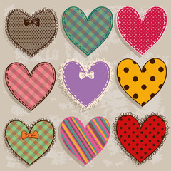 Set of isolated scrapbook heart icons