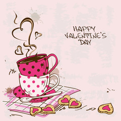 Valentine's greeting card with pair of teacups