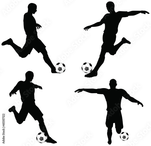 poses of soccer players silhouettes in run and strike position