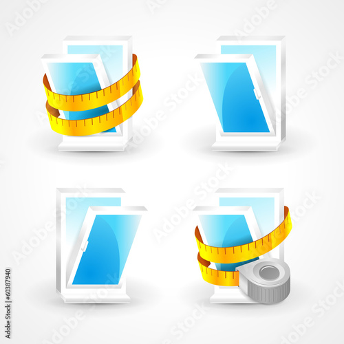 windows plastic measurement element icons set