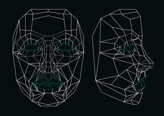Robot face line art: front and side. Geometrical.