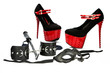 hand cuffs, mask, whip and extreme high heels shoes