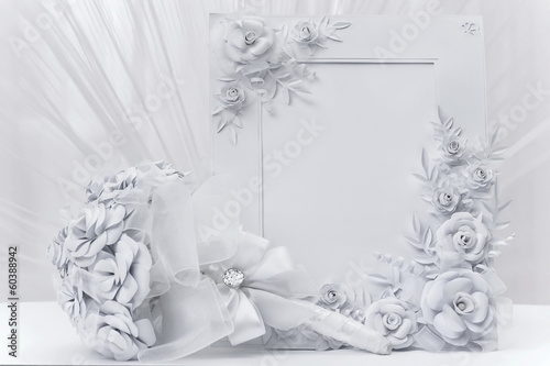 Bridal bouquet with frame for photo