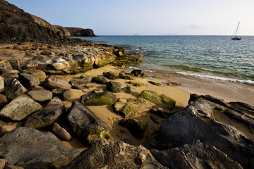 coastline rock beach  waand summer in lanzarote spain