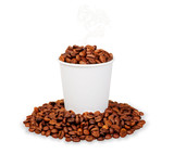 Paper cup of steaming coffee beans
