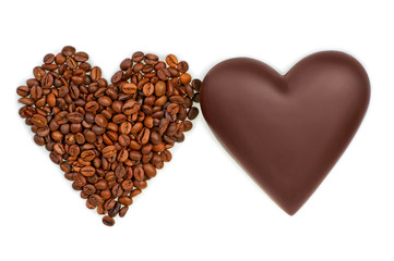 two hearts of chocolate and coffee beans on white background