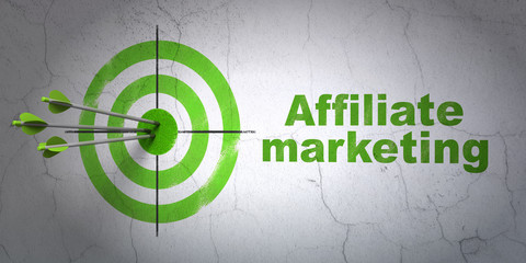 Finance concept: target and Affiliate Marketing on wall