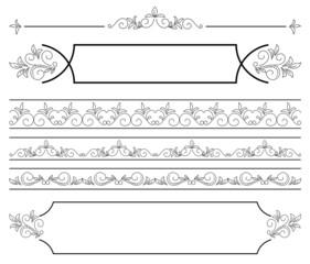 set - floral elements for design - vector