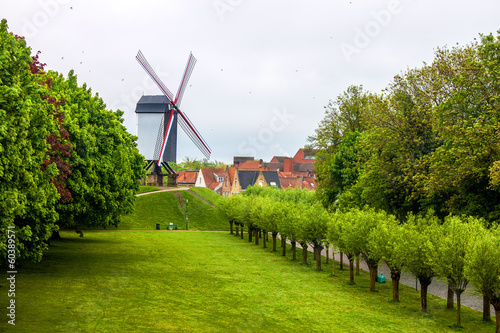 Wind mill in Bruges, Belgium